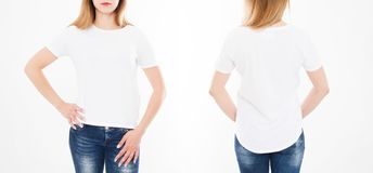 Front and back views of pretty woman, girl in tshirt on white background. Collage or set. Mock up for design. Copy space. Template. Blank royalty free stock photos