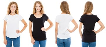 Front and back views teen woman in white and black t-shirt isolated, set girl in tshirt,two women stock image