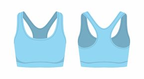 Women`s blue sport bra. Front and back views of women`s blue sport bra on white background Royalty Free Stock Photo