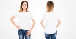 Front and back views of young woman in stylish tshirt on white background. Mock up for design. Copy space. Template. Blank.  royalty free stock photo