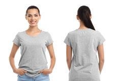 Front and back views of young woman in grey t-shirt. On white background. Mockup for design stock images