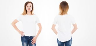 Front and back views of young woman in stylish tshirt on white background. Mock up for design. Copy space. Template. Blank.  stock photography