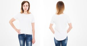 Front and back views of young woman in stylish tshirt on white background. Mock up for design. Copy space. Template. Blank.  royalty free stock photography
