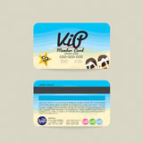 Front And Back VIP Member Card Template Sea And Beach Concept. Stock Photos