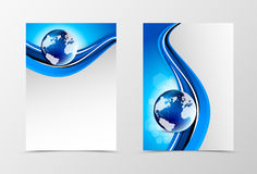 Front and back wave flyer template design Royalty Free Stock Image