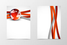 Front and back wave flyer template design. Abstract template with red curve lines and globe in digital dynamic style. Vector illustration Royalty Free Stock Image
