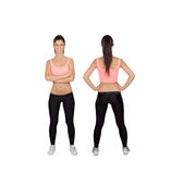 Front and back of woman in fitness clothes Stock Photography
