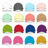 Front Baseball cap  vector template set. Black , white a Royalty Free Stock Images
