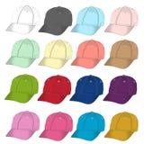 Front Baseball cap  vector template set. Stock Photos