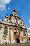 Front of the Beguinage Church, Brussels. Brussels, Belgium - July 31, 2015: Front of the Beguinage Church (XVII century, baroque style royalty free stock photography