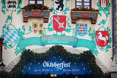 Front of the Biergarten restaurant at Epcot in Orlando, Florida. Royalty Free Stock Images