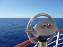 Binocular of a cruise ship. In front the Binocular of a cruise ship in the back  the caribbean sea Stock Photos
