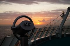 Binocular of a cruise ship. In front the Binocular of a cruise ship in the back  the caribbean sea Royalty Free Stock Image