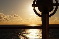 Binocular of a cruise ship. In front the Binocular of a cruise ship in the back  the caribbean sea Stock Photography