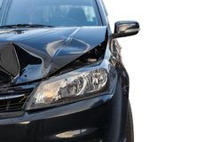 Front of black car get damaged by accident. Isolated on white background. Saved with clipping path Stock Photo
