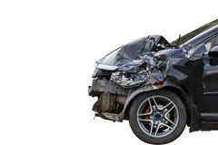 Front of black car get damaged by accident on the road. Isolated Royalty Free Stock Images