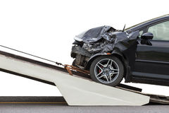 Front of black car get damaged by accident on the road. Isolated Stock Images