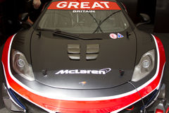 Front of blue McLaren mp4-12c gt3 car royalty free stock image