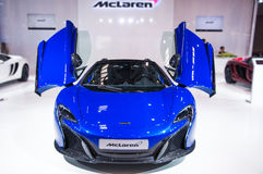 Front of blue Mclaren Roadster Royalty Free Stock Photography