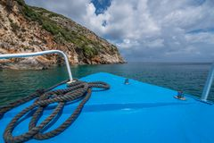 Tourist boat heading for Blue Caves in Zante royalty free stock photos