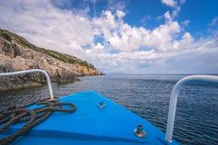 Tourist boat heading for Blue Caves in Zante. Front of a blue tourist boat heading for the Blue Caves, Zante Island, Greece stock photography