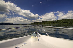 Front of boat on New Zealand lake Stock Image