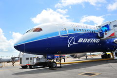 Front of Boeing 787 Dreamliner at Singapore Airshow 2012 Royalty Free Stock Images