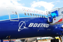 Front of Boeing 787 Dreamliner at Singapore Airshow 2012 Stock Photography