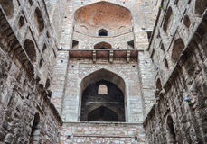 Front Bottom-Up View of Agrasen's Baoli. Historical/ancient  monument Agrasen/Ugarsen's Baoli (step well) located in connaught place new delhi, India Stock Photo