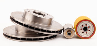 Front brake disks and pads for a  car Royalty Free Stock Image