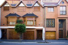 Front brick house. Front luxurious and spacious house of bricks Stock Image