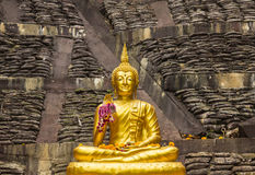 Front of the Buddha, filled with the light of gold Stock Photos