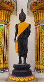 Front of Buddha statue filled with gold sheet. From people who faith in buddhism Royalty Free Stock Photo