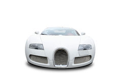 Front of Bugatti Veyron car. Front view of white Bugatti Veyron luxury sports car on white background Royalty Free Stock Photo