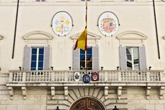 Front of the building housing the Spanish embassy stock images