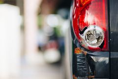 Tail light car pick up by car accident royalty free stock photos