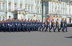 Front calculation of the Institute of state fire service of EMERCOM on rehearsal of parade in honor of Victory day. Saint Petersbu Stock Photo
