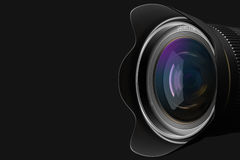Front of the camera lens. Lens at close range in the background 3D rendering Royalty Free Stock Photos