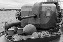 Front canon of an old retired battle ship. Black and white shot of the Front canon of an old retired battle ship in Karlskrona Sweden Royalty Free Stock Photography