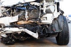 Front car damage demolished. Royalty Free Stock Photo