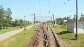 Front car view from the fast-moving train, time-lapse, railroad. Stock footage stock video footage