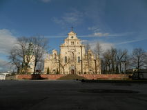 Front of cathedral in kielce. Stock Photo
