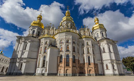 Front of the cathedral in the Kiev Pechersk Lavra Royalty Free Stock Photo