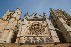 Front of the cathedral of Leon Royalty Free Stock Image