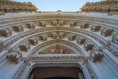Front of Cathedral of Sevilla. Andalusia, Spain stock photography