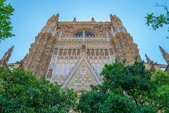 Front of Cathedral of Sevilla. Andalusia, Spain stock image