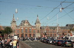 Front of the Central Station in Amsterdam Stock Images