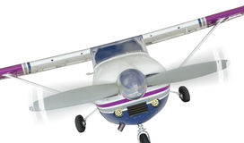 Front of Cessna 172 Single Propeller Airplane On White royalty free stock image