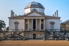 Front of Chiswick House on West London, Uk. Chiswick House is a magnificent neo Palladian villa set in beautiful historic gardens royalty free stock photos