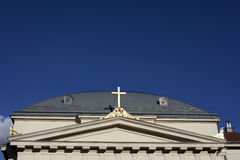 Church Front and Cross Royalty Free Stock Photo